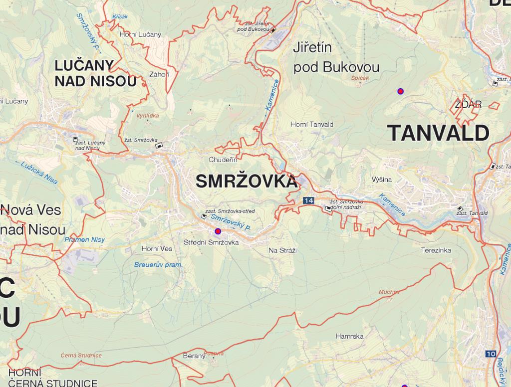 Mapa honitby Smržovka
